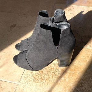 Apt 9 Black Suede Peep-toe High Heel Booties